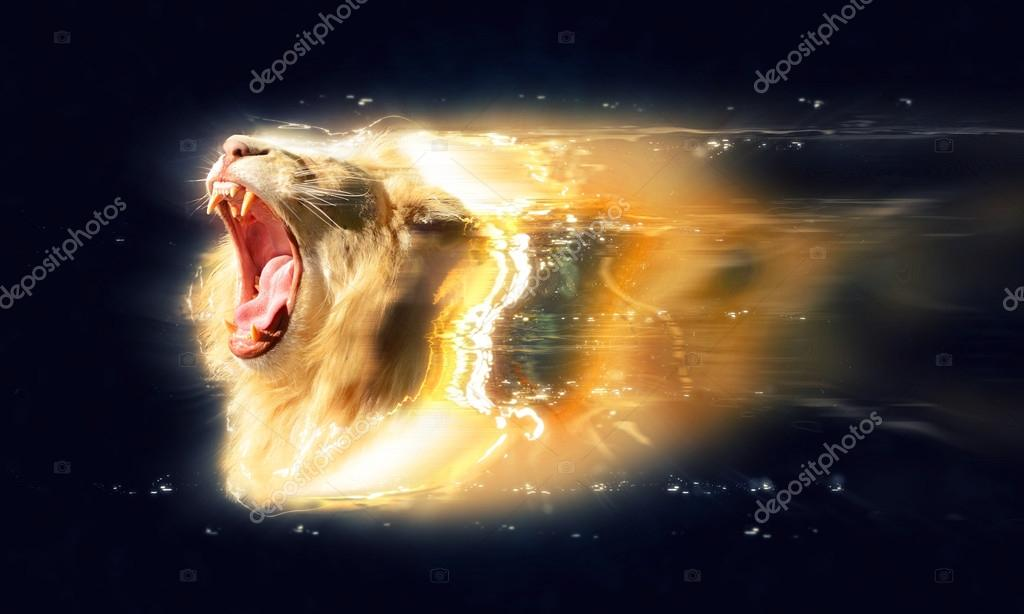 White lion with open jaws, abstract animal concept