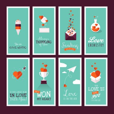 Set of vector flat design Valentines day greeting cards clip art vector
