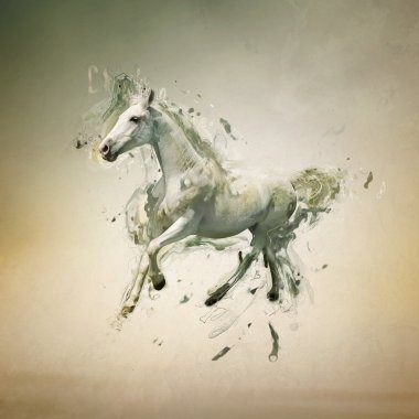 White horse in motion, abstract animal concept