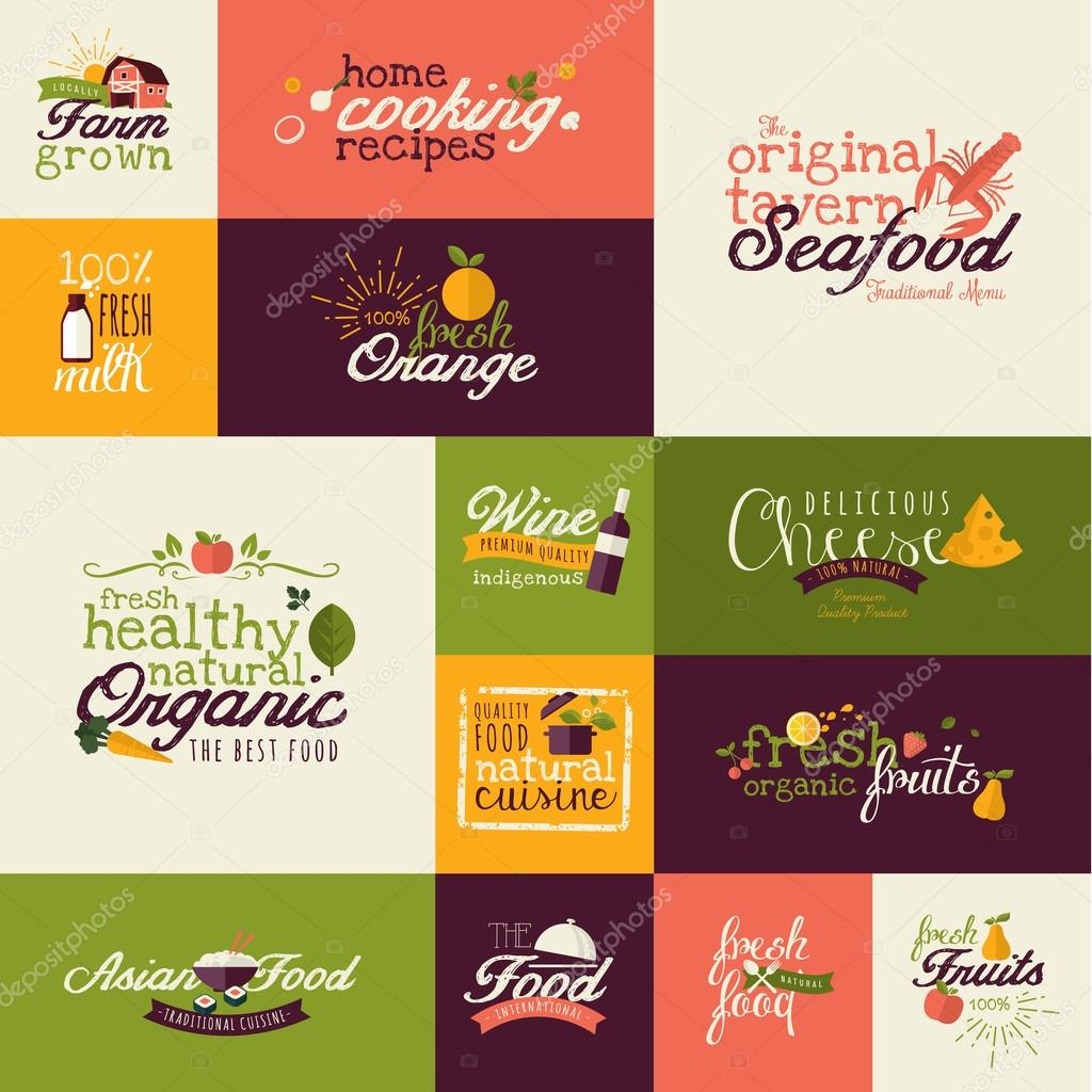 Set of flat design icons for natural food and drink, and restaurant