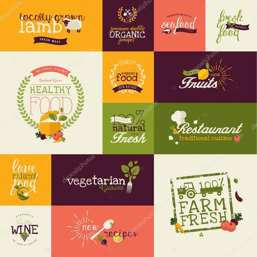 Set of flat design icons for natural organic food and drink