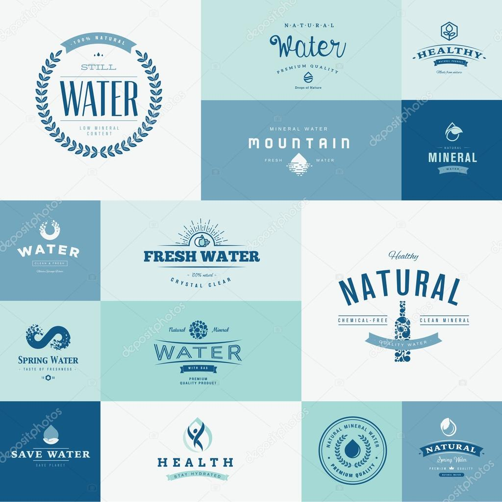Set of flat design icons for water