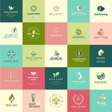 Set of flat design beauty and nature icons for natural products, cosmetics, healthcare, beauty center, spa and wellness clip art vector