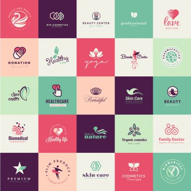 Set of vector flat design icons for beauty and healthy life clip art vector