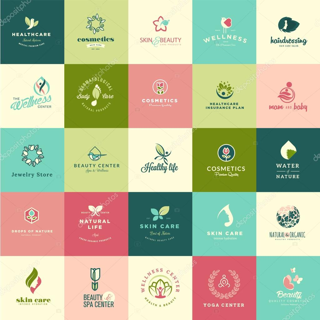 Set of flat design beauty and nature icons
