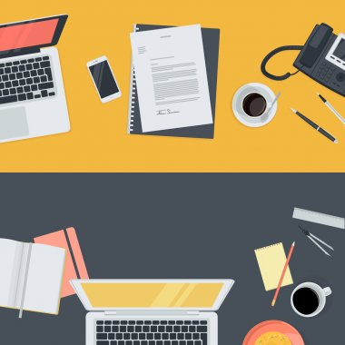 Set of flat design illustration concepts for online education, staff training, courses, retraining, specialization