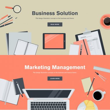 Set of flat design illustration concepts for business and marketing
