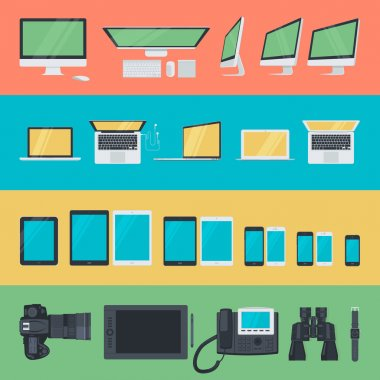 Set of flat design icons of electronic devices