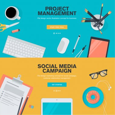 Set of flat design illustration concepts for project management and social media campaign
