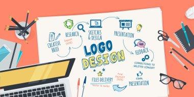 Flat design illustration concept for logo design creative process