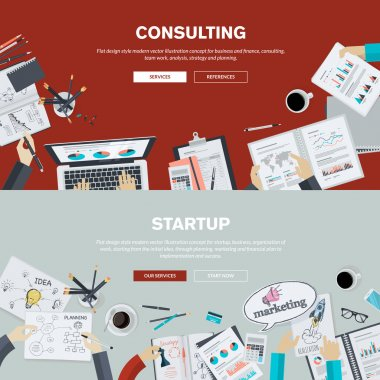 Flat design illustration concepts for business, finance, consulting, management, team work, analysis, strategy and planning, startup