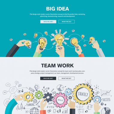 Flat design illustration concepts for big idea, marketing, brainstorming, business, team work, company strategy, project management