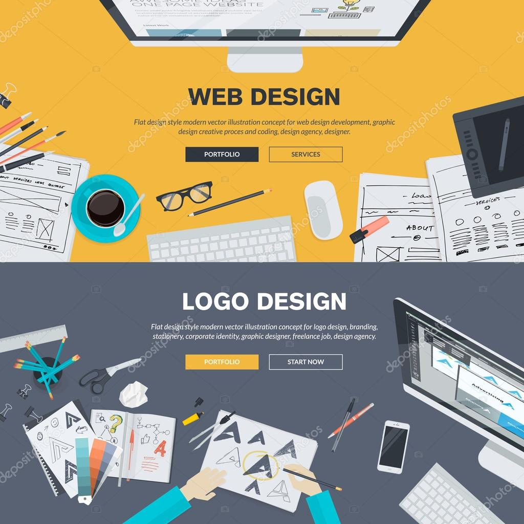 Flat design illustration concepts for web design development, logo design, graphic design, design agency