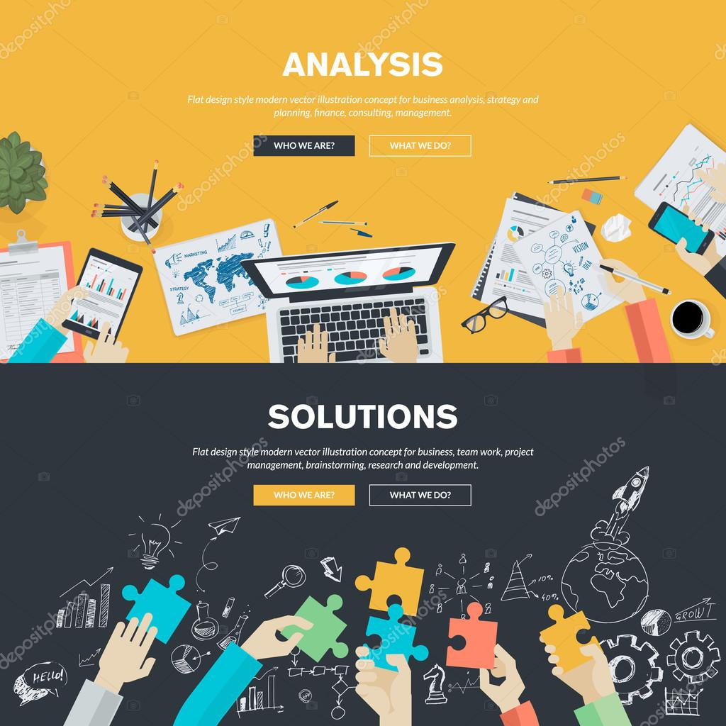 Flat design illustration concepts for business analysis, strategy and planning, finance, consulting, management, team work, project management, brainstorming, research and development