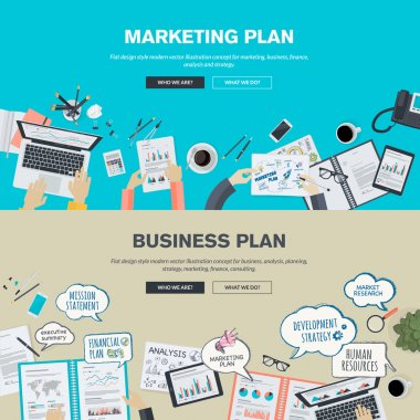 Set of flat design illustration concepts for business plan and marketing plan