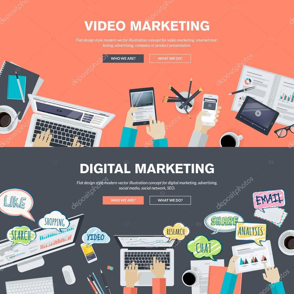 Set of flat design illustration concepts for video and digital marketing