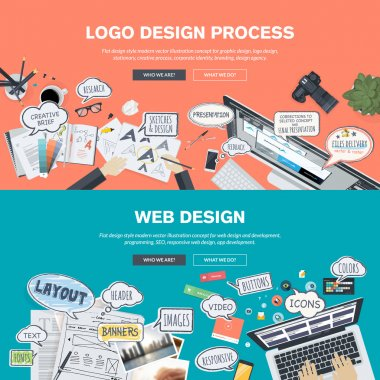 Set of flat design banners for logo and web design development