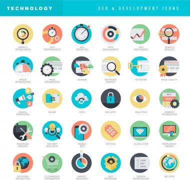 Set of flat design icons for SEO and website development