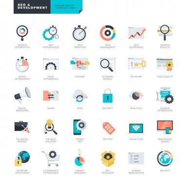 Set of flat design icons for SEO and website development clip art vector