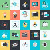 Sada plochý design stylu koncept ikon pro grafiky a web designu. Ikony pro web design a vývoj, grafický design, vývoj mobilní aplikace, obalový design, design loga
