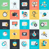 Set von flachen Design-Stil Konzept-Symbole für Grafik und Web-Design. Icons für Website-Entwicklung, Seo, Codierung, E-Commerce, digitales Marketing, App-Entwicklung, Internet-Dienste.