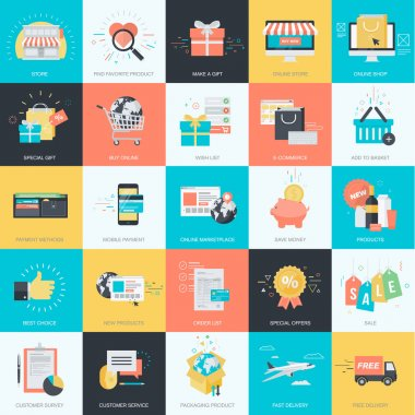 Set of flat design style concept icons for graphic and web design. Icons for e-commerce, m-commerce, online shopping.