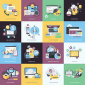 Fotografie Flat design style concept icons on the topic of web design and development, business and marketing