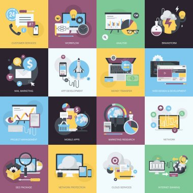 Flat design style concept icons on the topic of web design and development, business and marketing