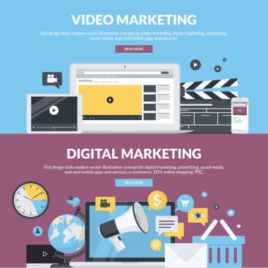 Set of flat design style concepts for video marketing, digital marketing, advertising, social media, web and mobile apps and services, e-commerce, SEM