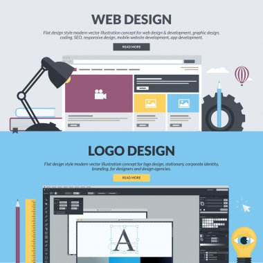 Set of flat design style concepts for web design and development, graphic design, app development, SEO, logo design