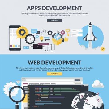 Set of flat design style concepts for website design and development, app development, SEO, mobile site development