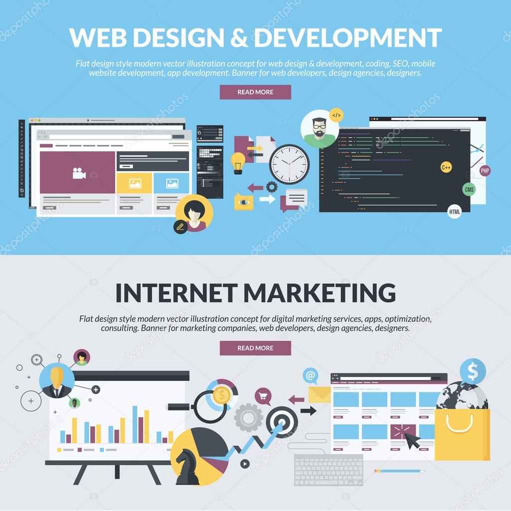 Set of flat design style concepts for web design and development, and internet marketing services, from marketing companies, web developers, design agencies, designers