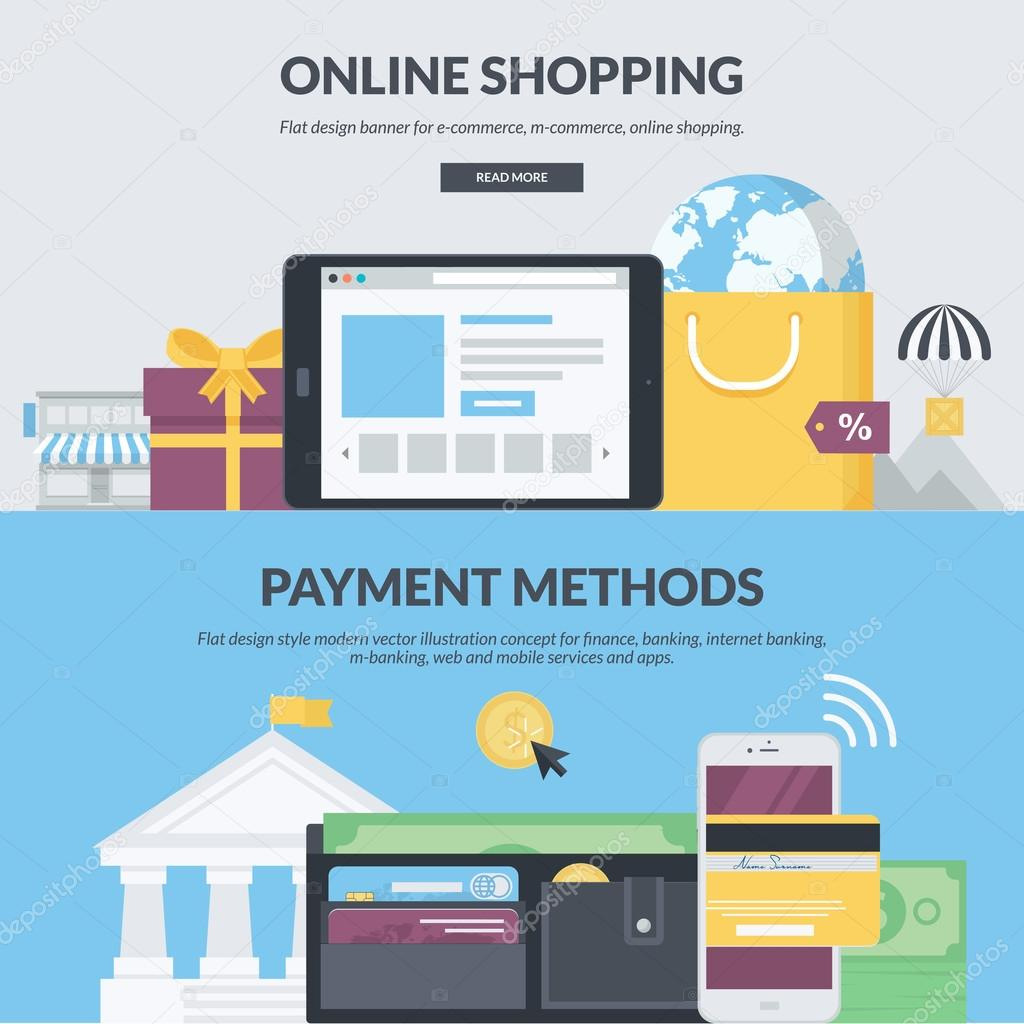 Set of flat design style concepts for e-commerce, m-commerce, online shopping, finance, banking, internet banking, m-banking