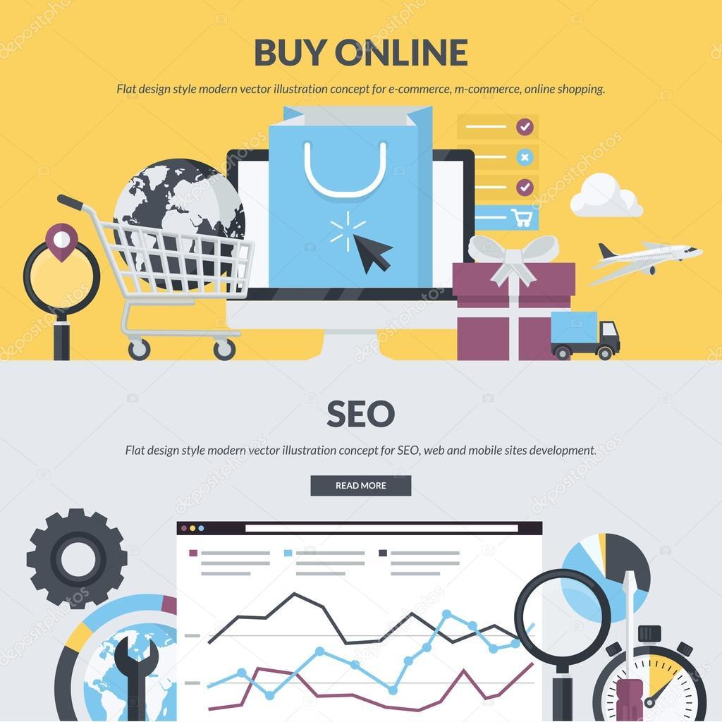 Set of flat design style concepts for e-commerce, m-commerce, online shopping, web development, SEO