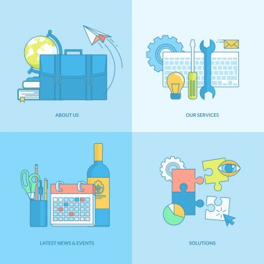 Set of line concept icons with flat design elements