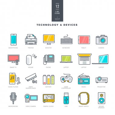 Set of line modern color icons for technology and electronic devices