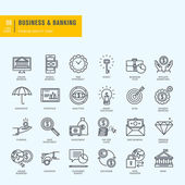Photo Thin line icons set. Icons for business, banking, e-banking.
