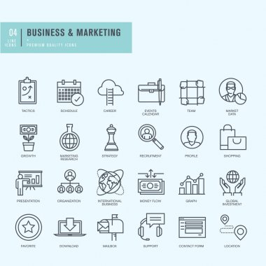 Thin line icons set. Icons for business.
