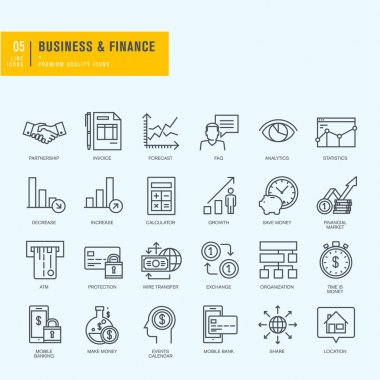 Thin line icons set. Icons for business, finance, m-banking.