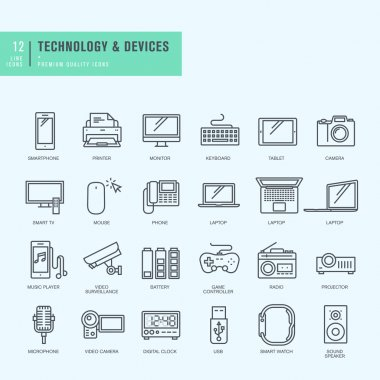 Thin line icons set. Icons for technology, electronic devices.