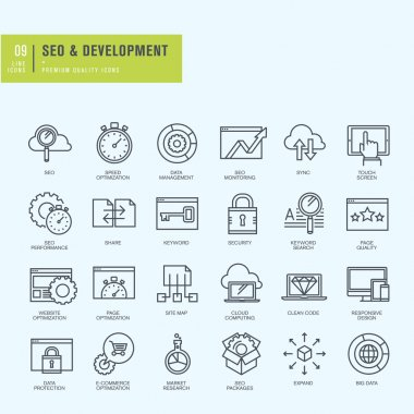 Thin line icons set. Icons for seo, website and app design and development.