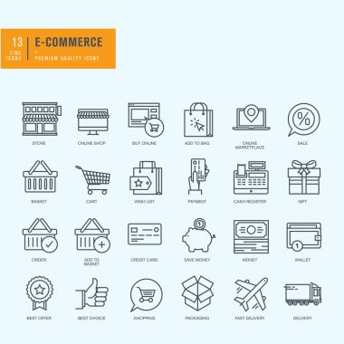 Thin line icons set. Icons for e-commerce, online shopping.