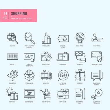 Thin line icons set. Icons for shopping.