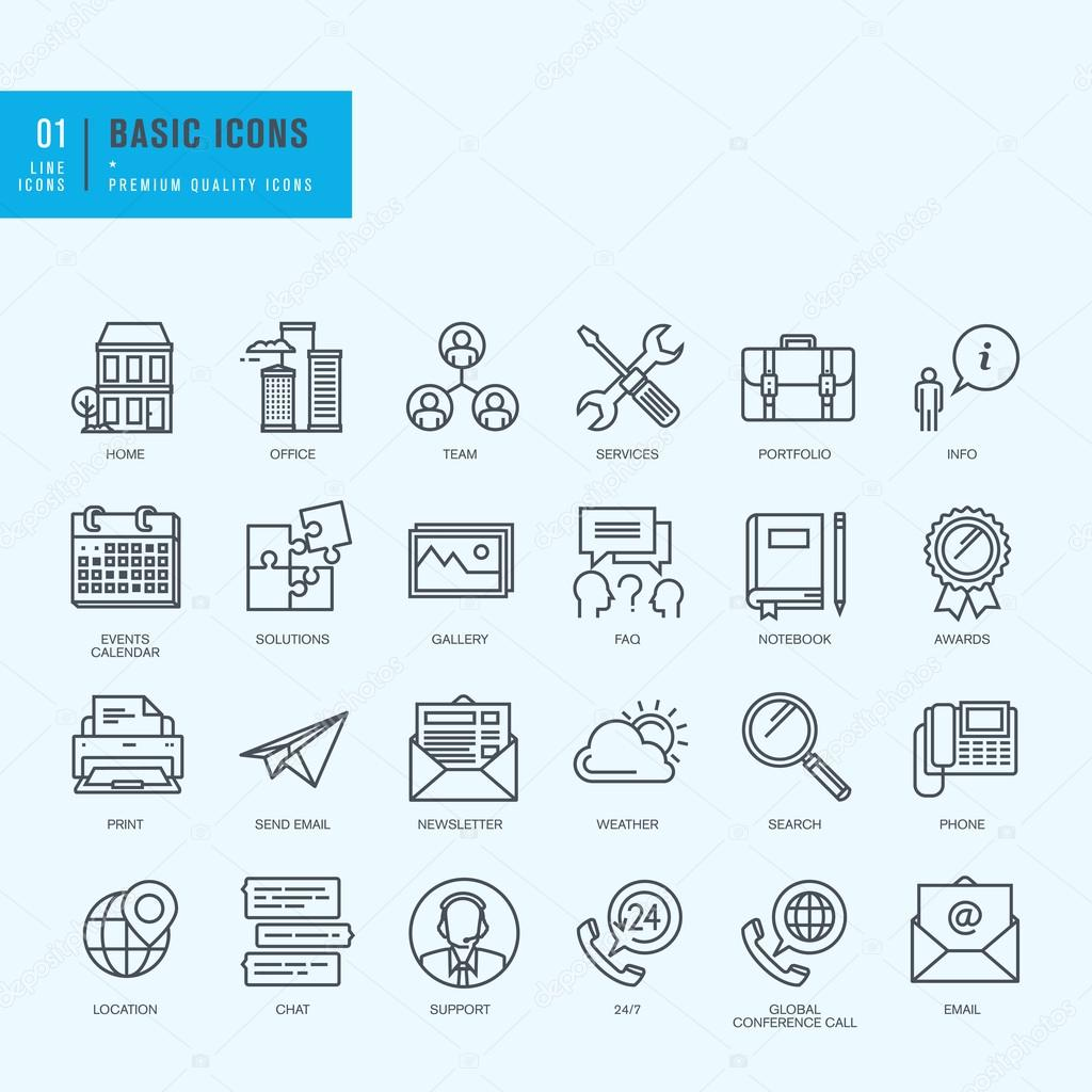 Thin line icons set. Universal icons for website and app design.