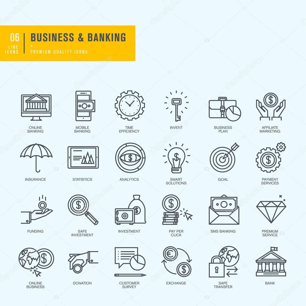 Thin line icons set. Icons for business, banking, e-banking.