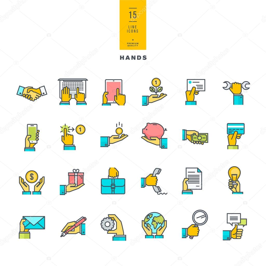 Set of line modern color icons of hand using a variety of products