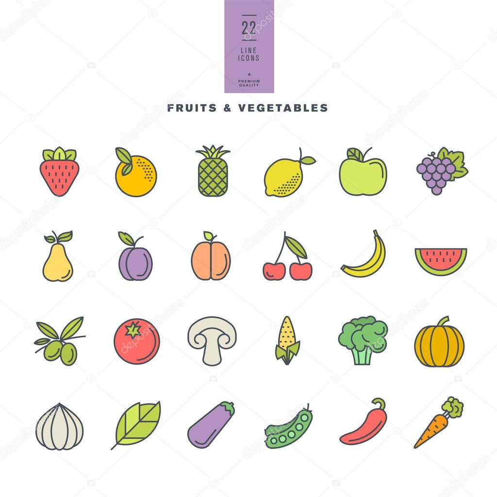 Set of line modern color icons for fruit and vegetables