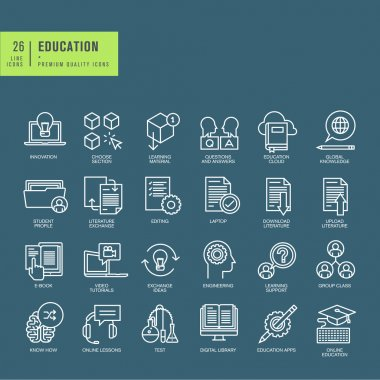 Set of thin line web icons on the theme of education