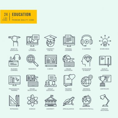 Thin line icons set. Icons for online education, online tutorials, training courses, online book store, university.