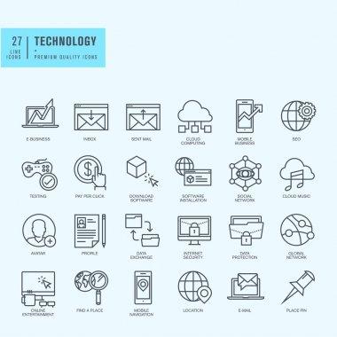 Thin line icons set clip art vector
